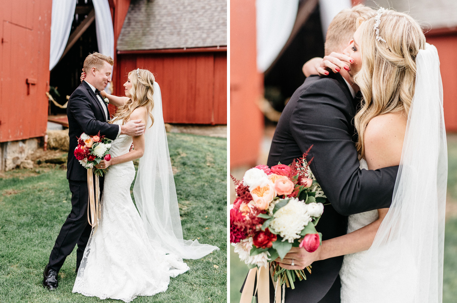 First look bride crying moment at birch hill barn captured by geneoh photography