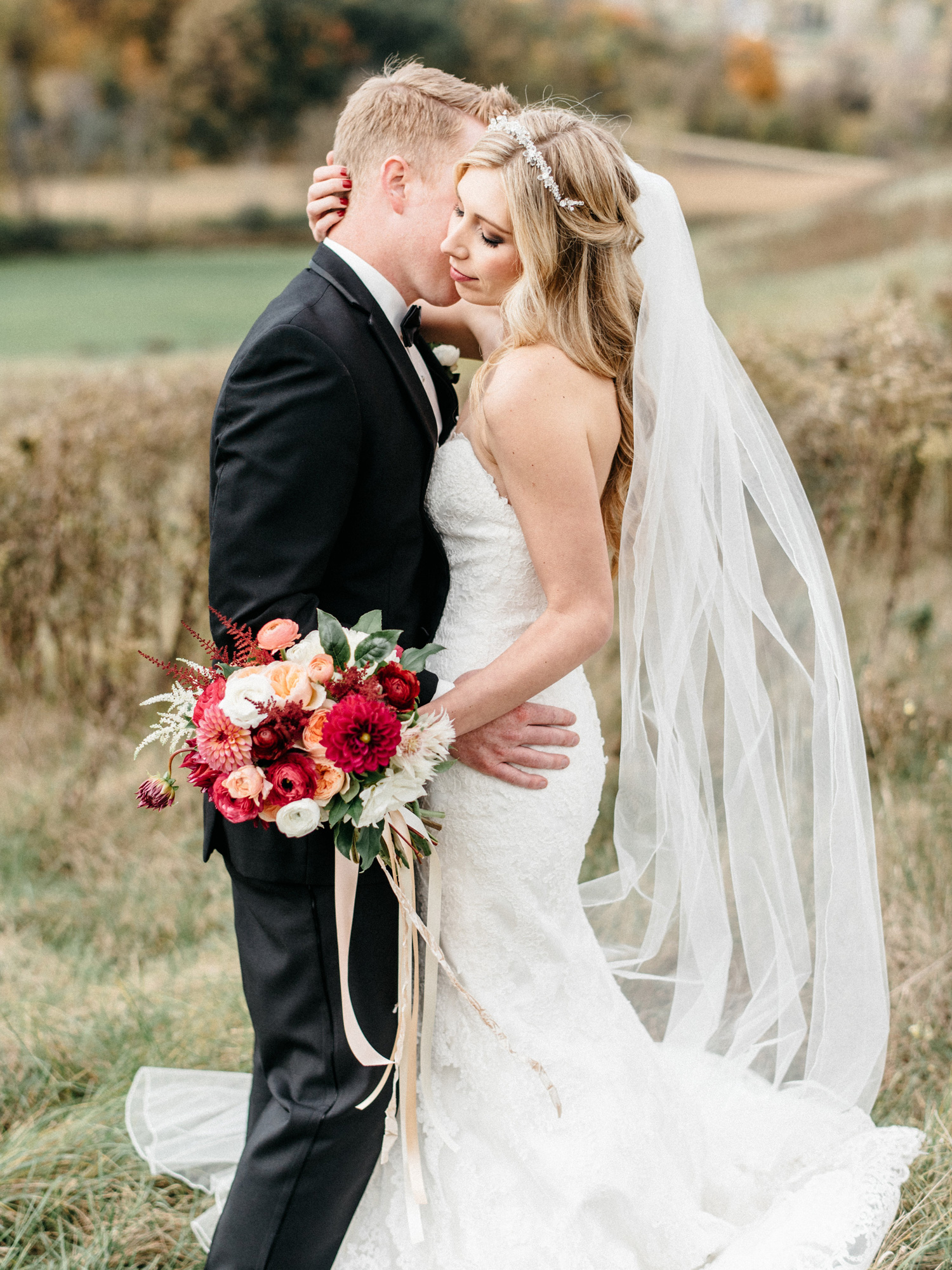 Bride and Groom Portrait at Birch Hill Barn capture by Geneoh Photography