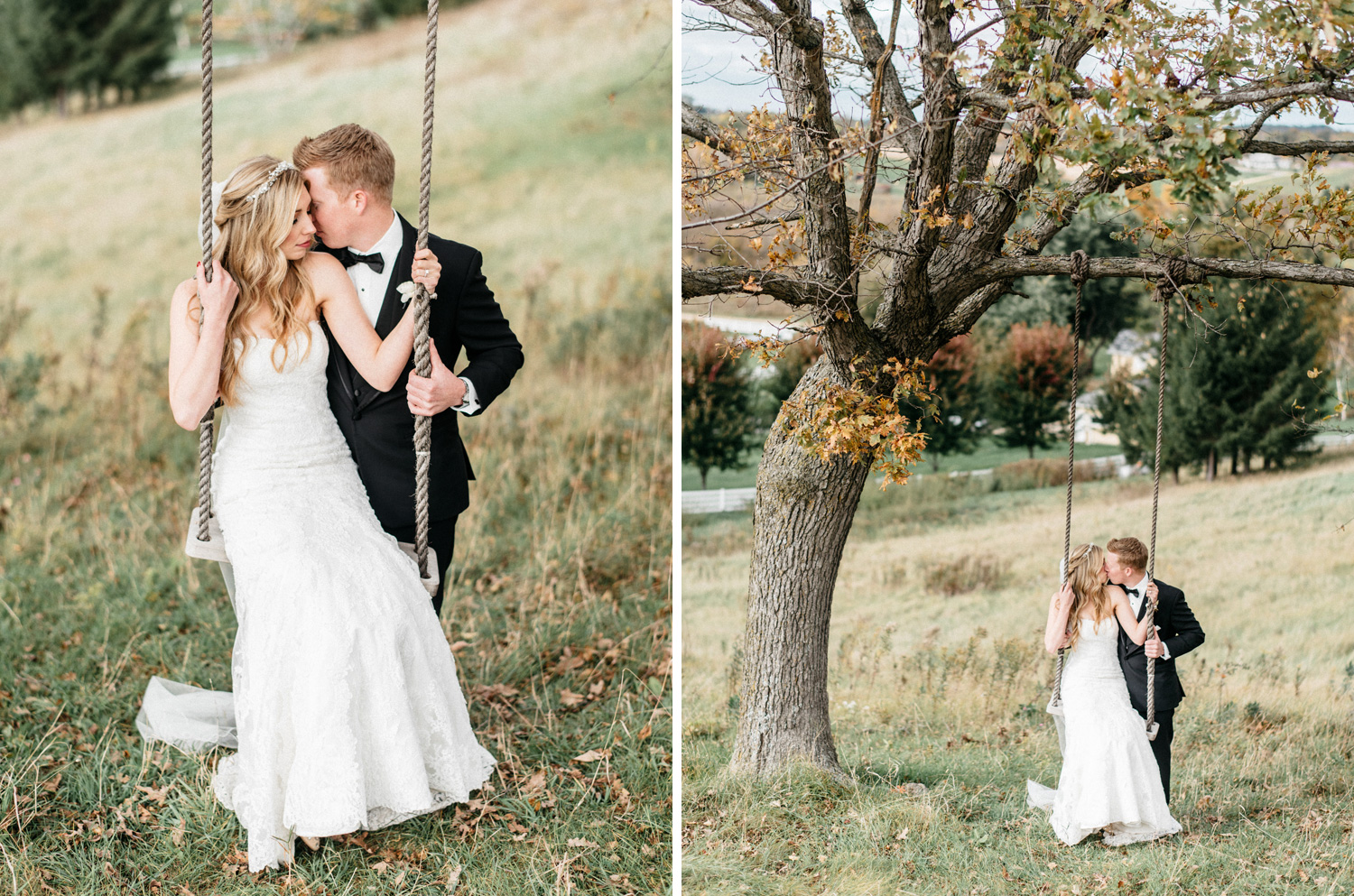 Bride and Groom Portrait on swing during Fall at Birch Hill Barn capture by Geneoh Photography