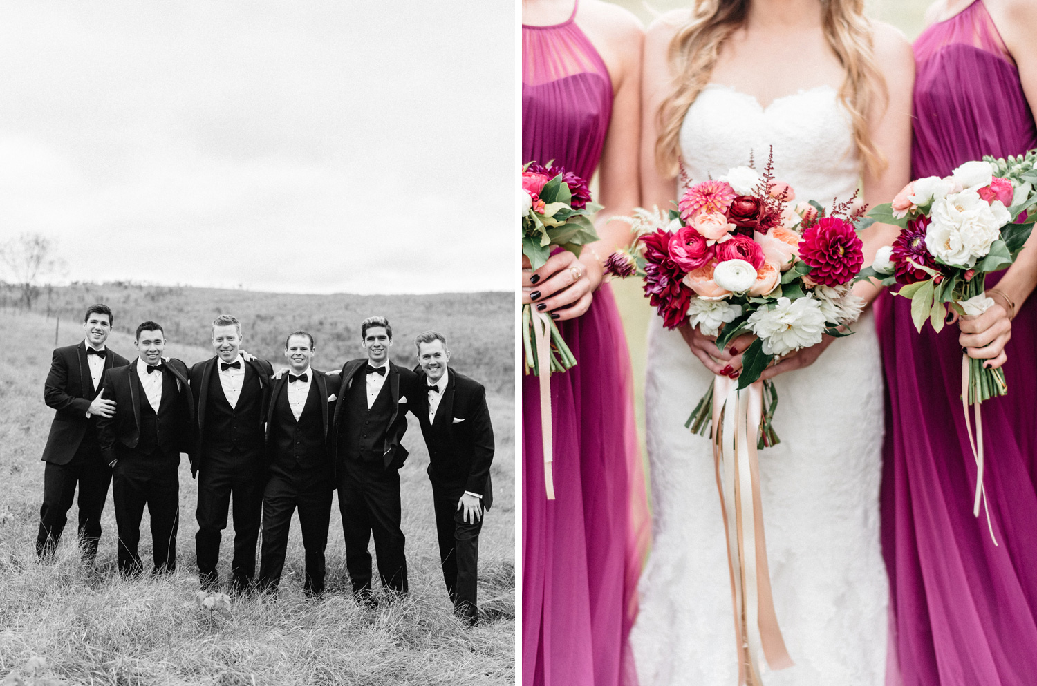 Birch Hill Barn Fall Wedding Bridal Party Portrait Captured by Geneoh Photography