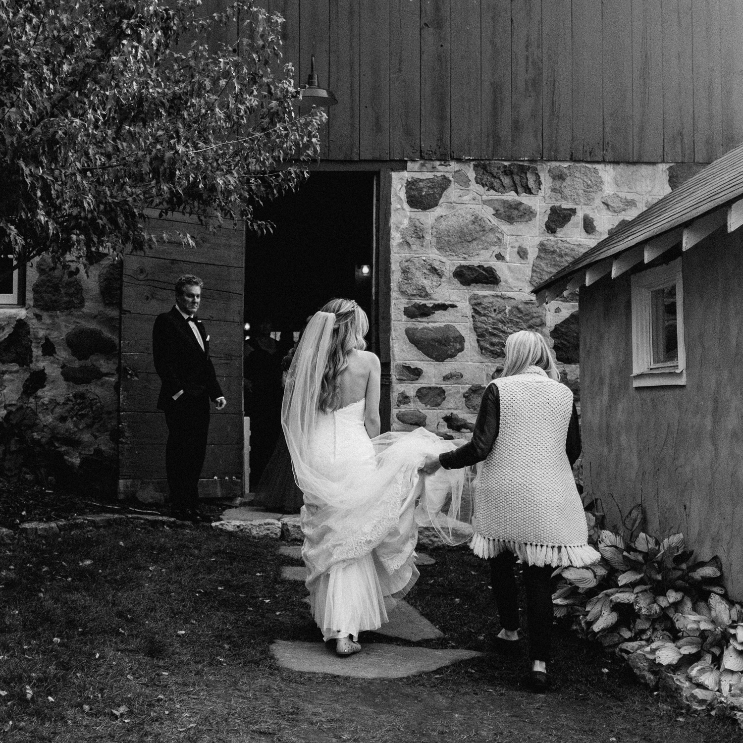 Bride and father before the ceremony at birch hill barn
