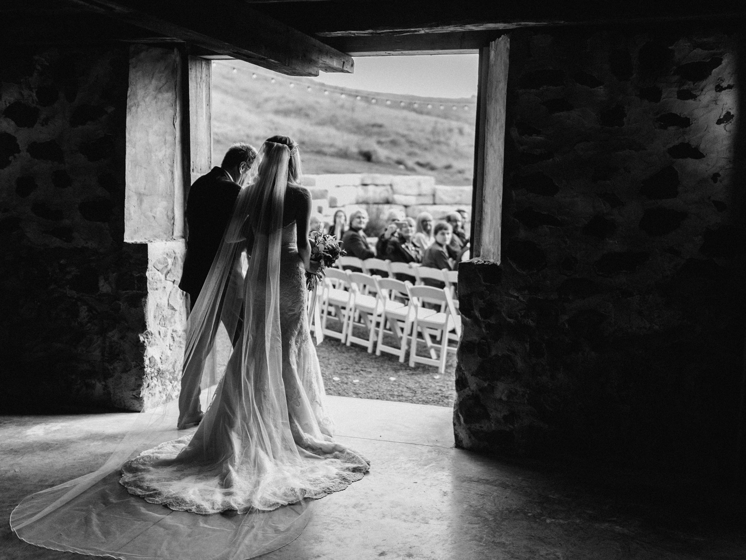Bride and Father walking down aisle at birch hill barn capture by geneoh photography