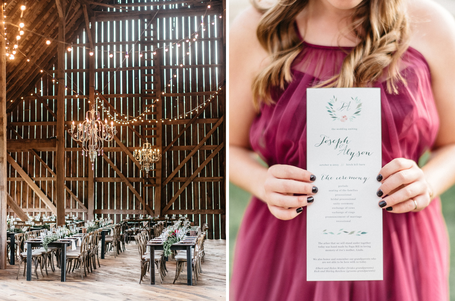 Fall wedding details at Birch Hill Barn captured by Geneoh Photography