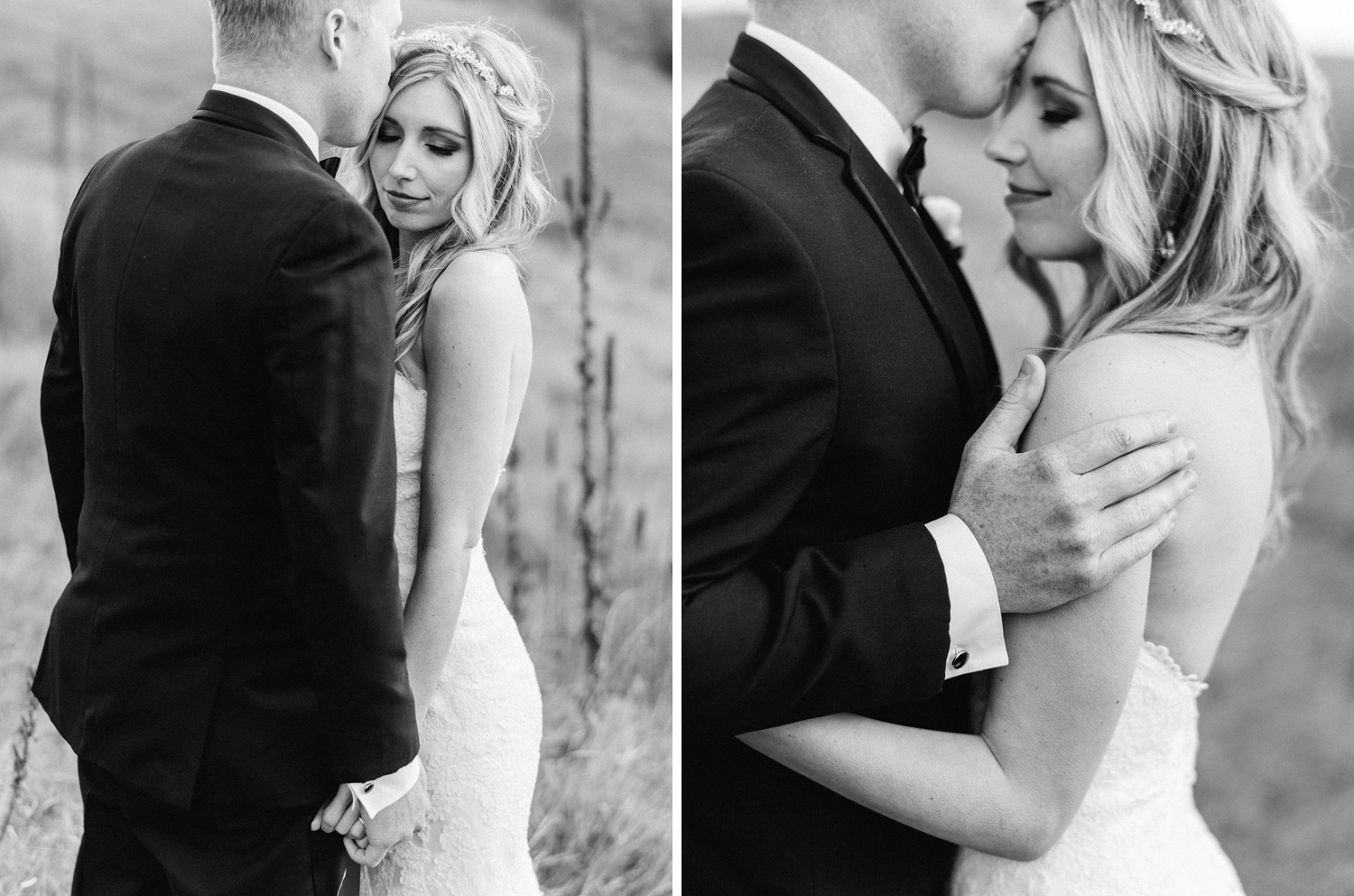 intimate black and white portrait of bride and groom by geneoh photography