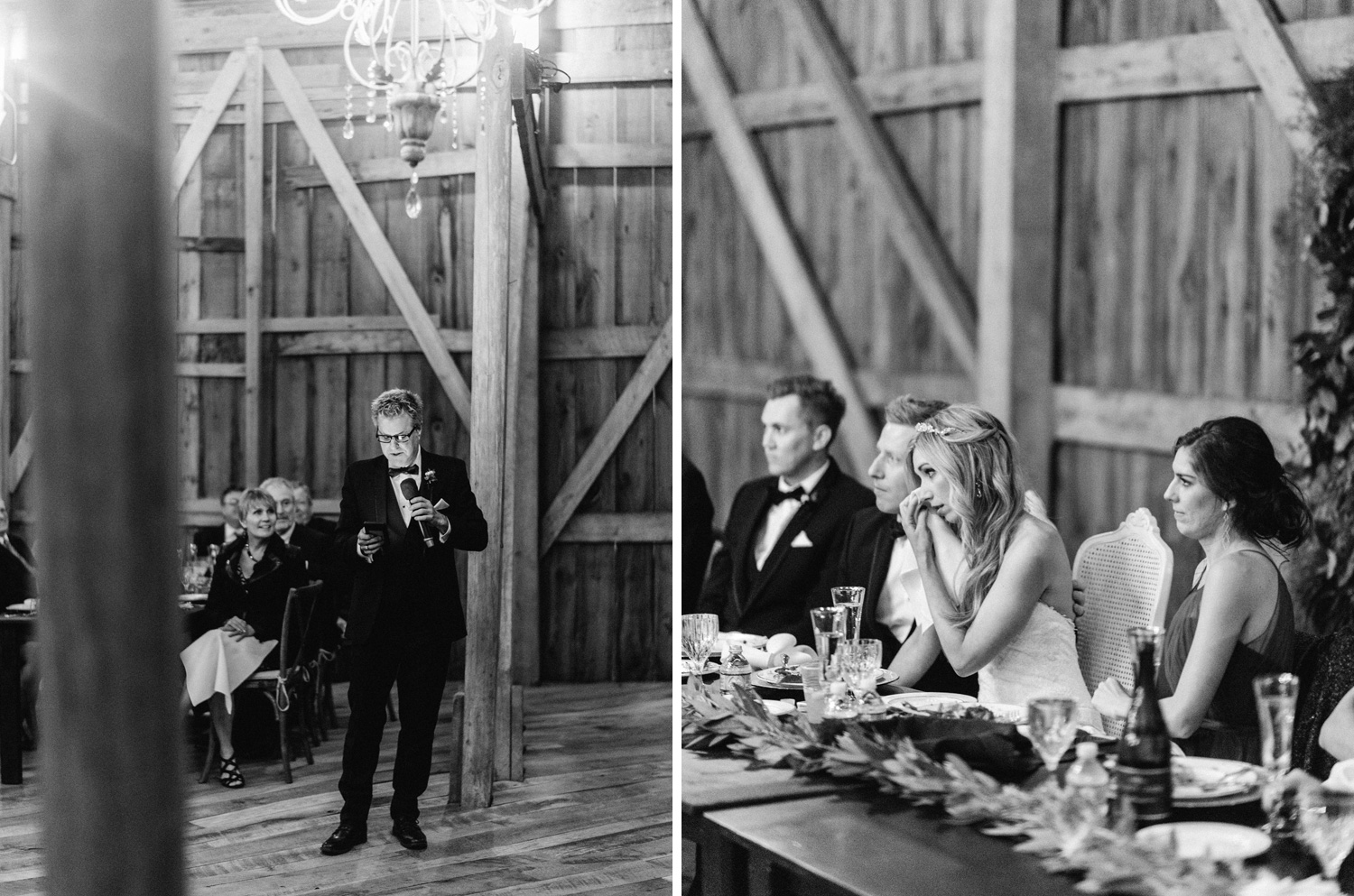 Father giving speech at barn wedding in Wisconsin