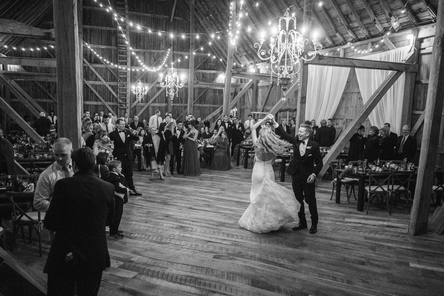 First dance of Bride and Groom at Birch Hill Barn Capture by Geneoh Photography