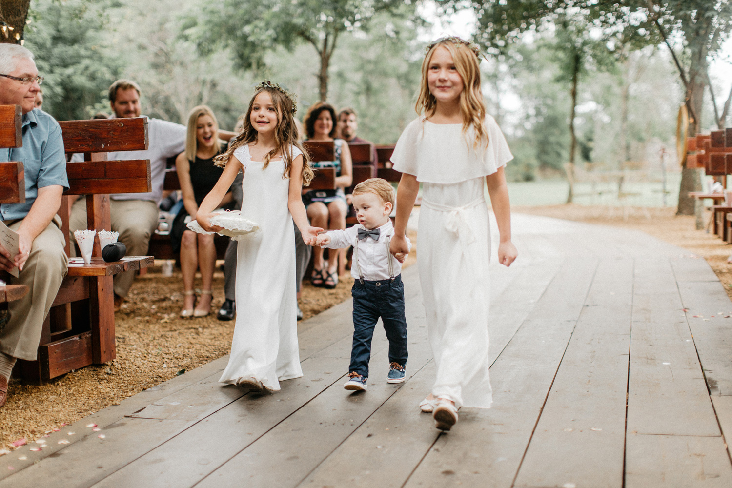 Flower girls and ring bearer during ceremony at Southwind Hills