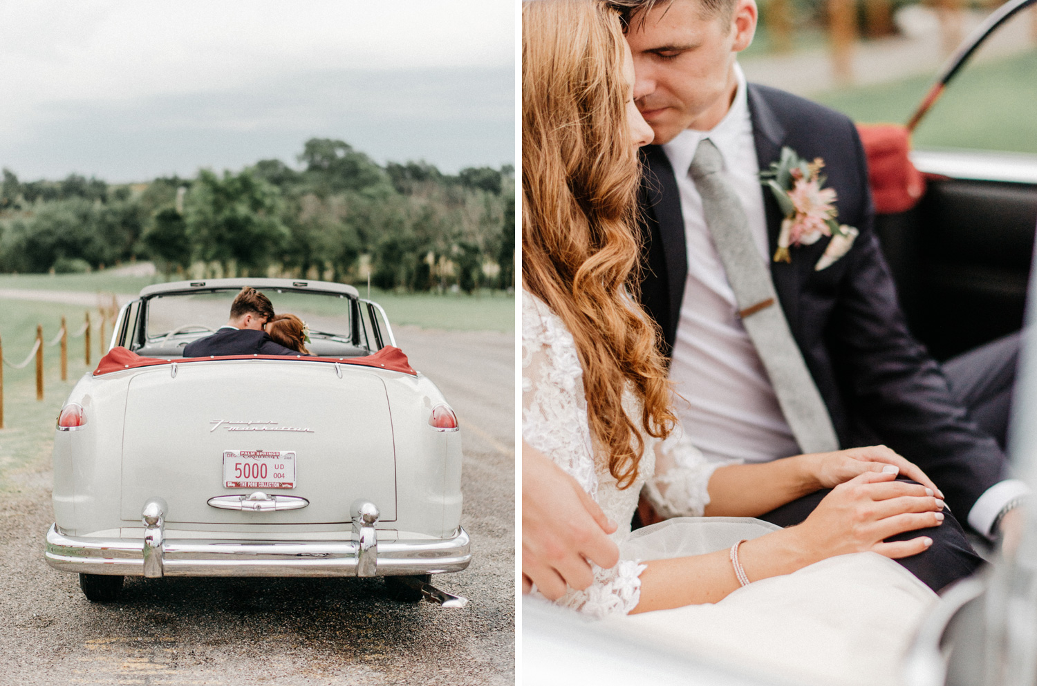 Bride and Groom Portraits in classic car at Southwind Hills by g