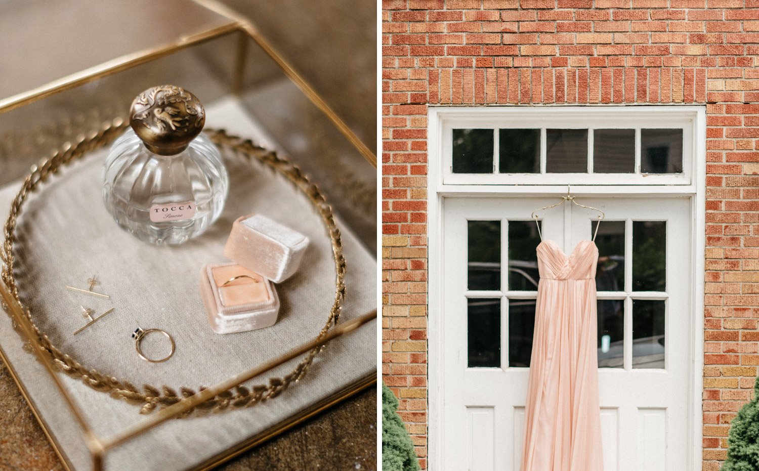 Brides wedding day details and pink dress