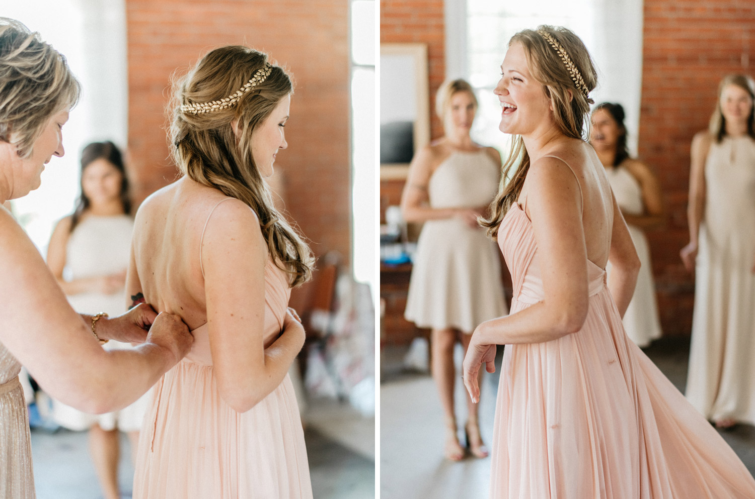 bride putting her pink dress on