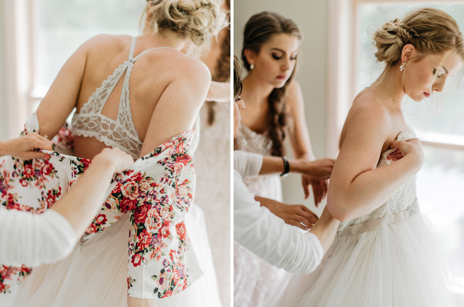bride putting her dress on at rustic oaks