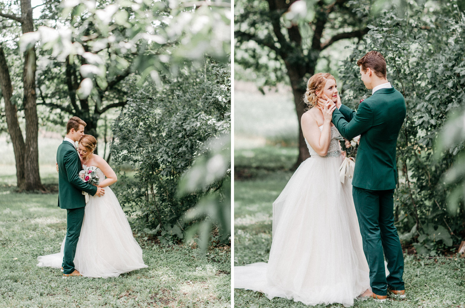 bride and groom first look at rustic oaks