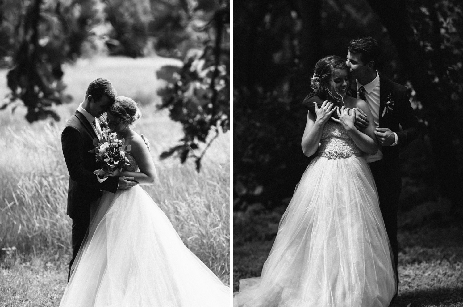 black and white Portrait of bride and groom at rustic oaks by geneoh photography