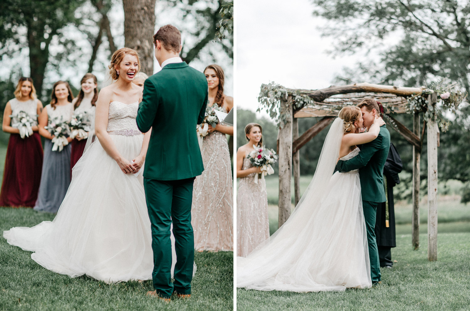 first kiss during outdoor ceremony at rustic oaks by geneoh photography