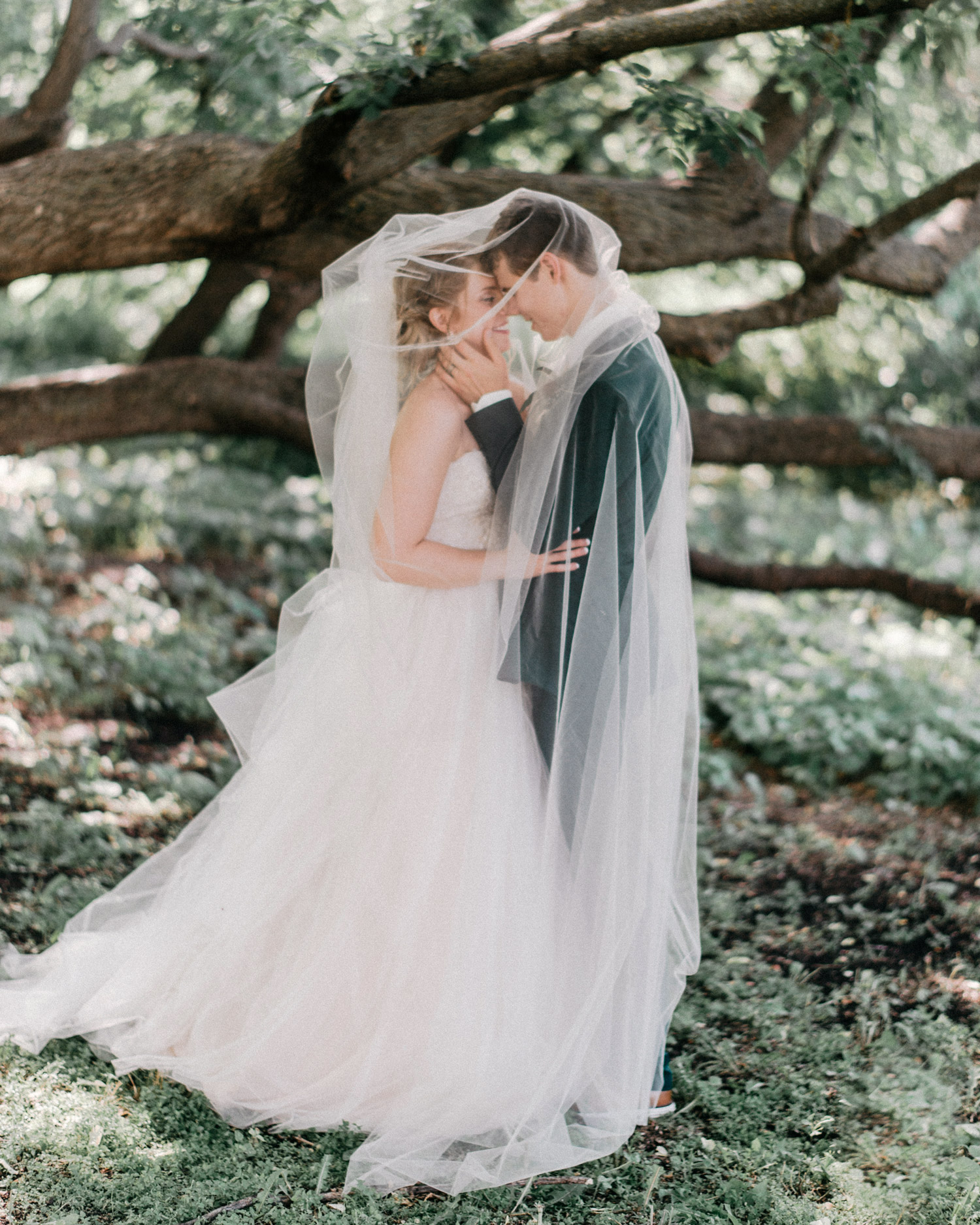 portrait of bride and groom under veil at rustic oaks by geneoh photography