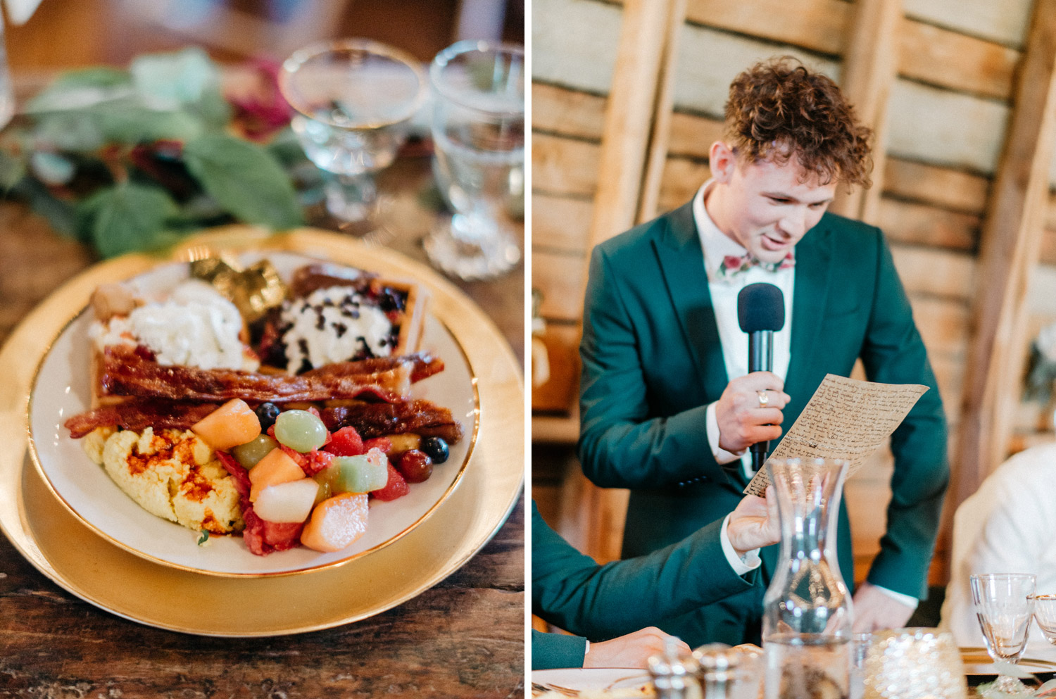 groomsmen gives speech during reception at rustic oaks