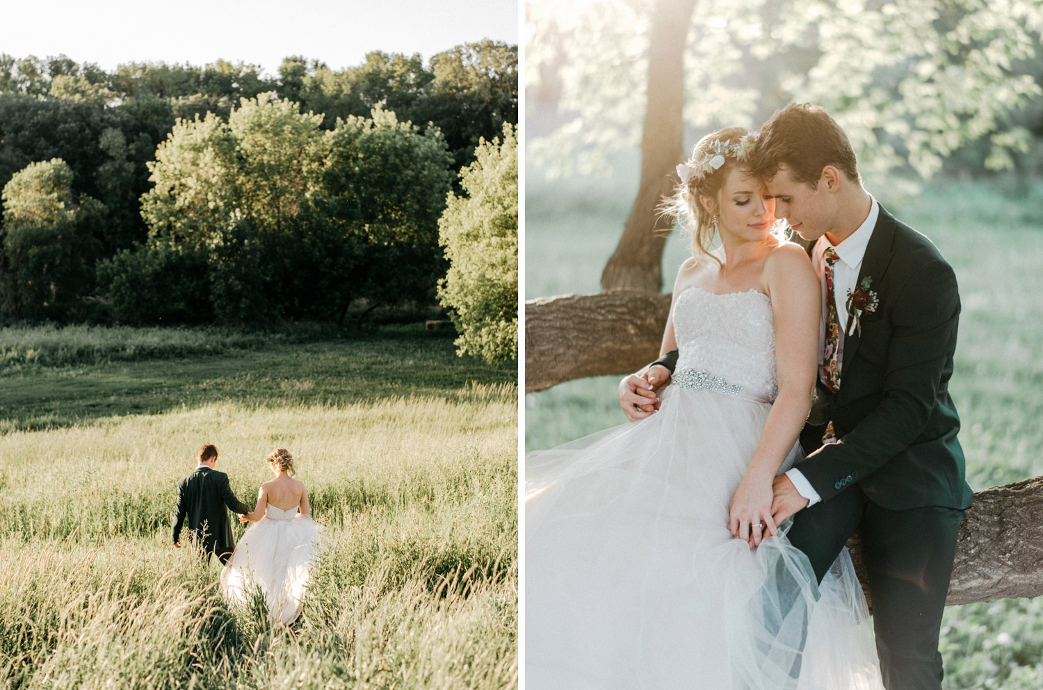 Portraits of bride and groom during sunset at rustic oaks by geneoh