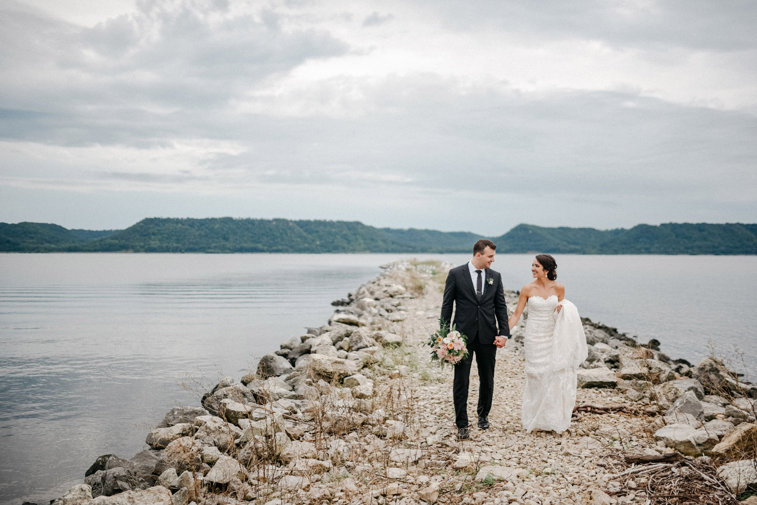 Bride and Groom Portraits on Lake Pepin by geneoh photography