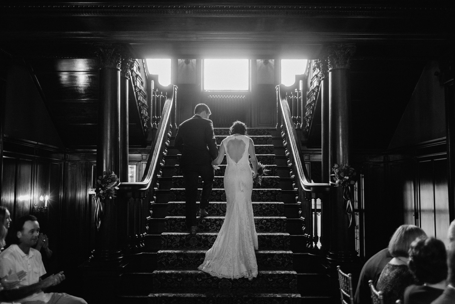 Bride and Groom leaving ceremony at Semple Mansion by geneoh photography