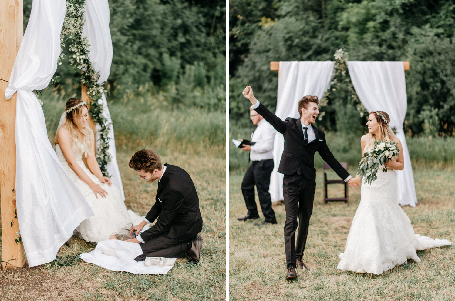 Outdoor Backyard Wedding ceremony by geneoh photography
