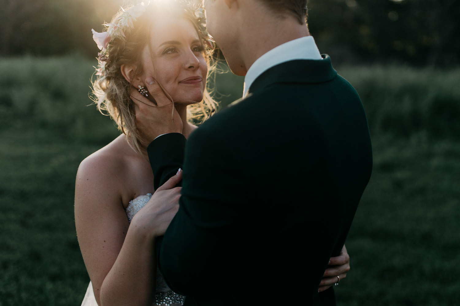 Sunset Bride and Groom Portraits by geneoh photography