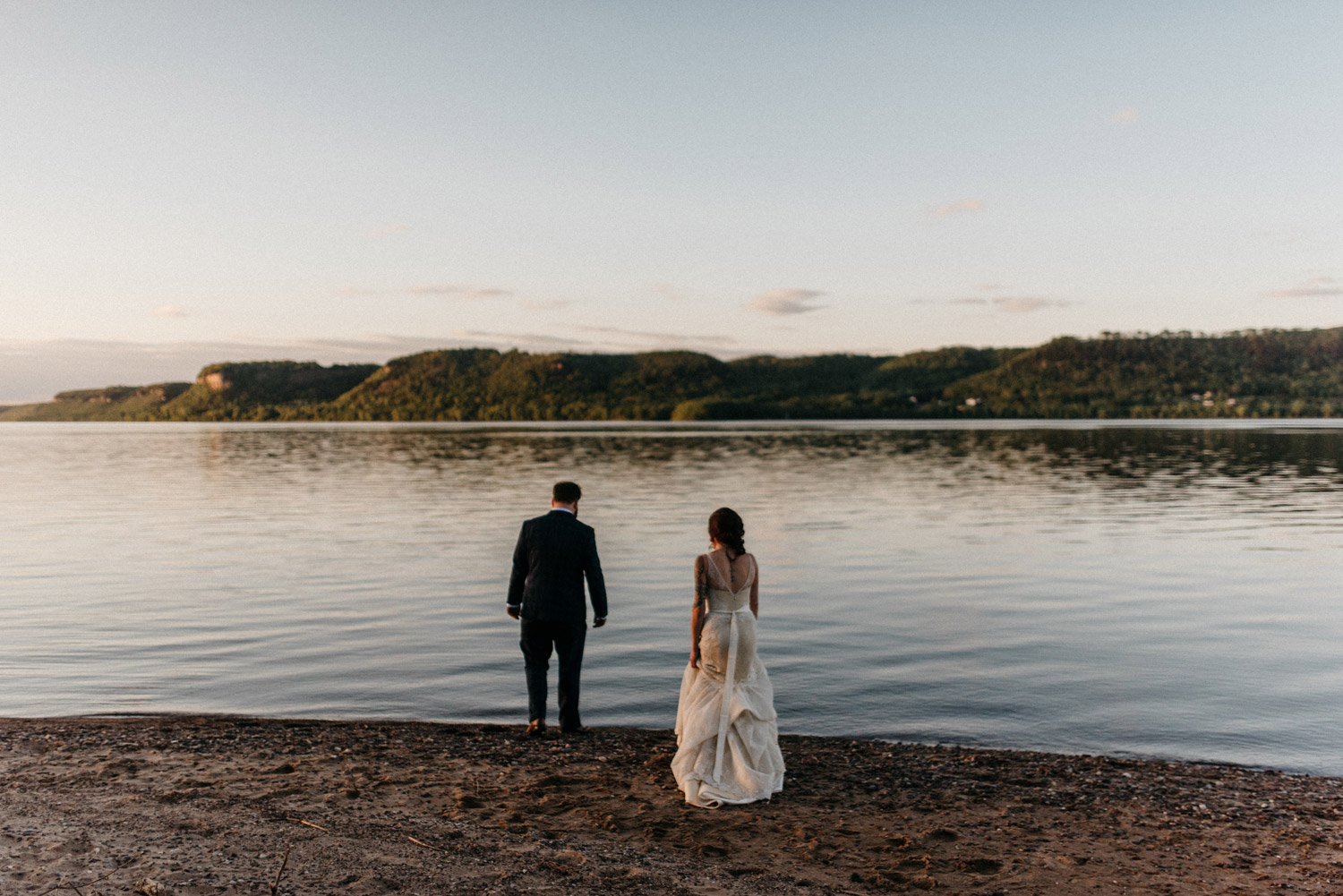 Bride and Groom Portrait at Pepin Lake by geneoh photography