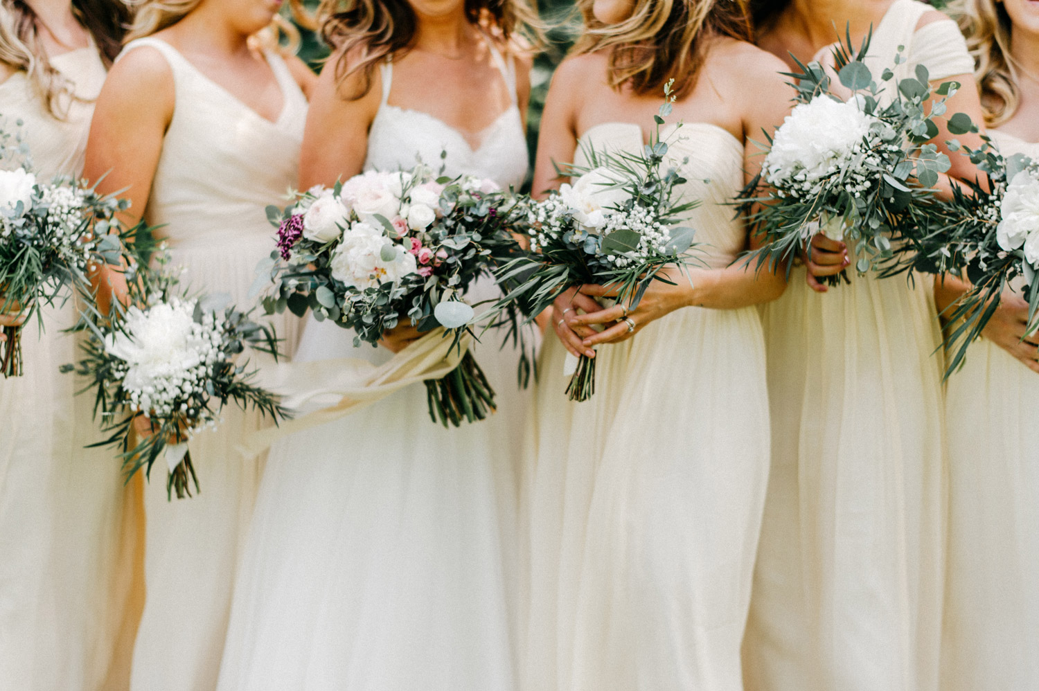 Bridesmaids floral arrangements at minnetonka orchards