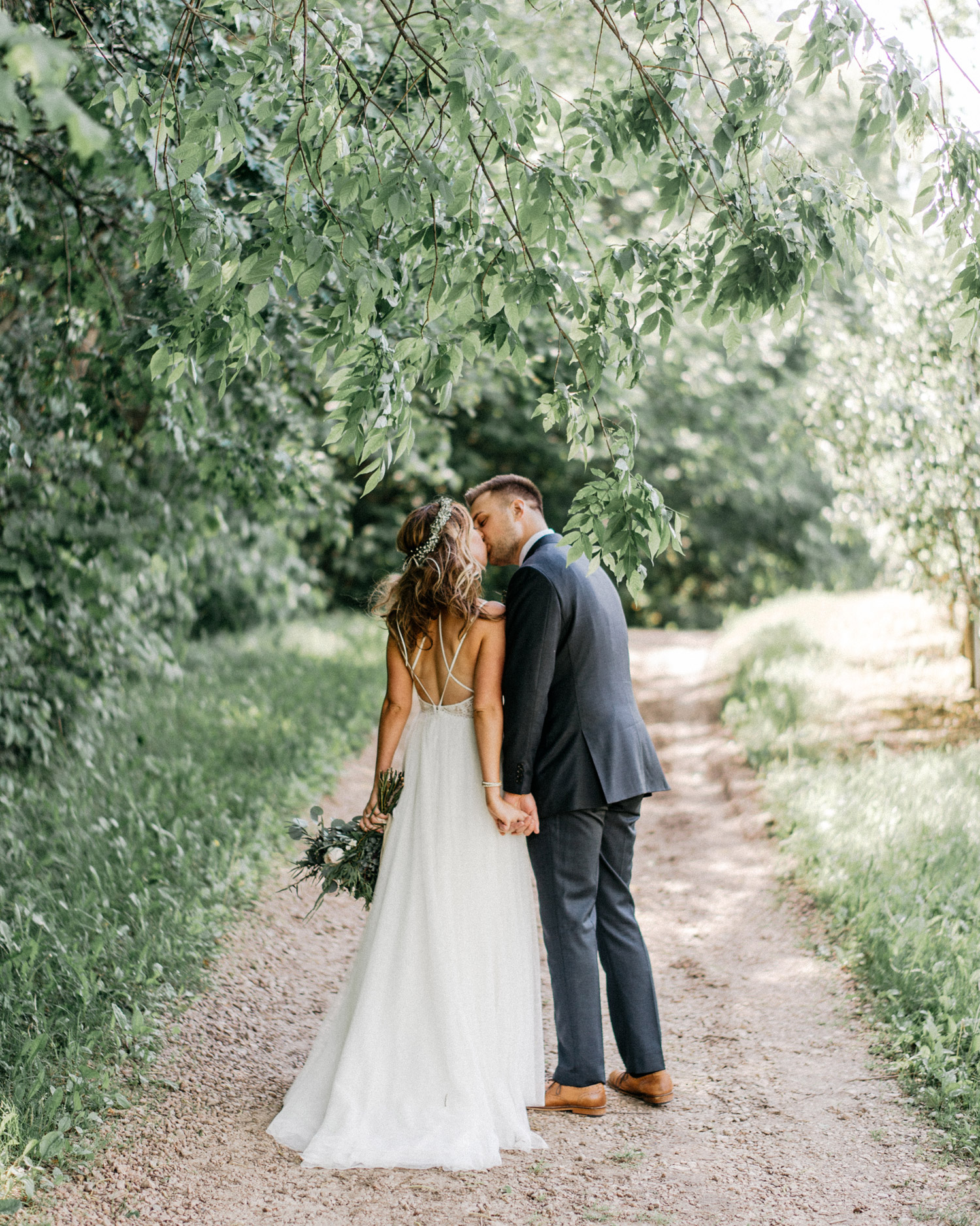 Bride and Groom Portrait at Minnetonka Orchards by geneoh photography