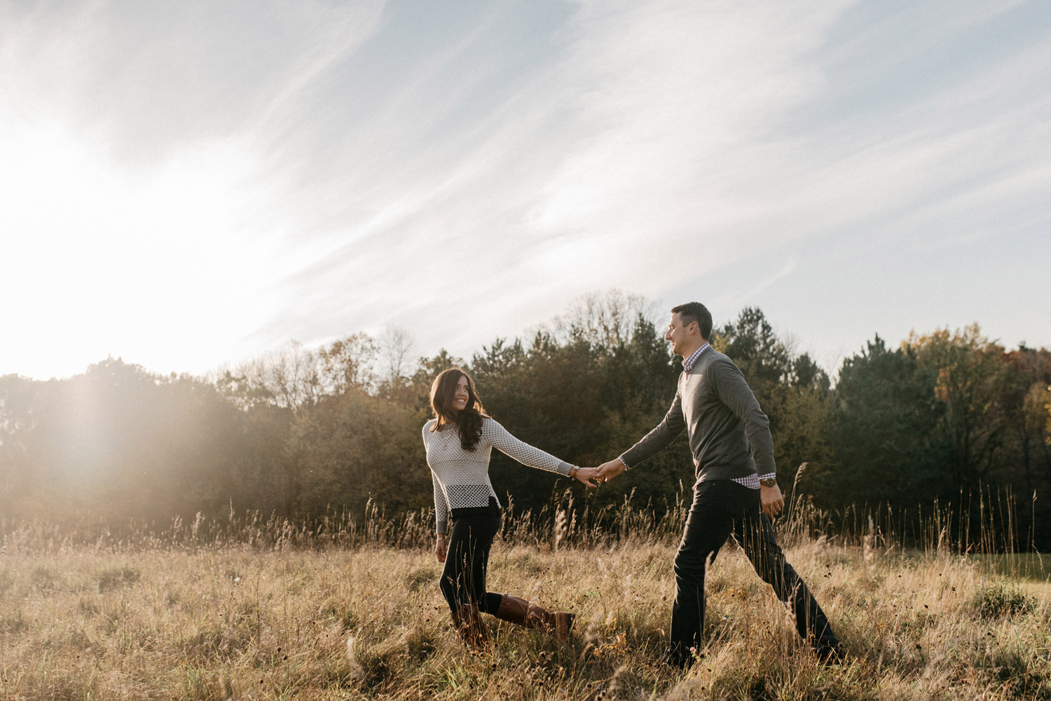 Fall sunset engagement photography by geneoh