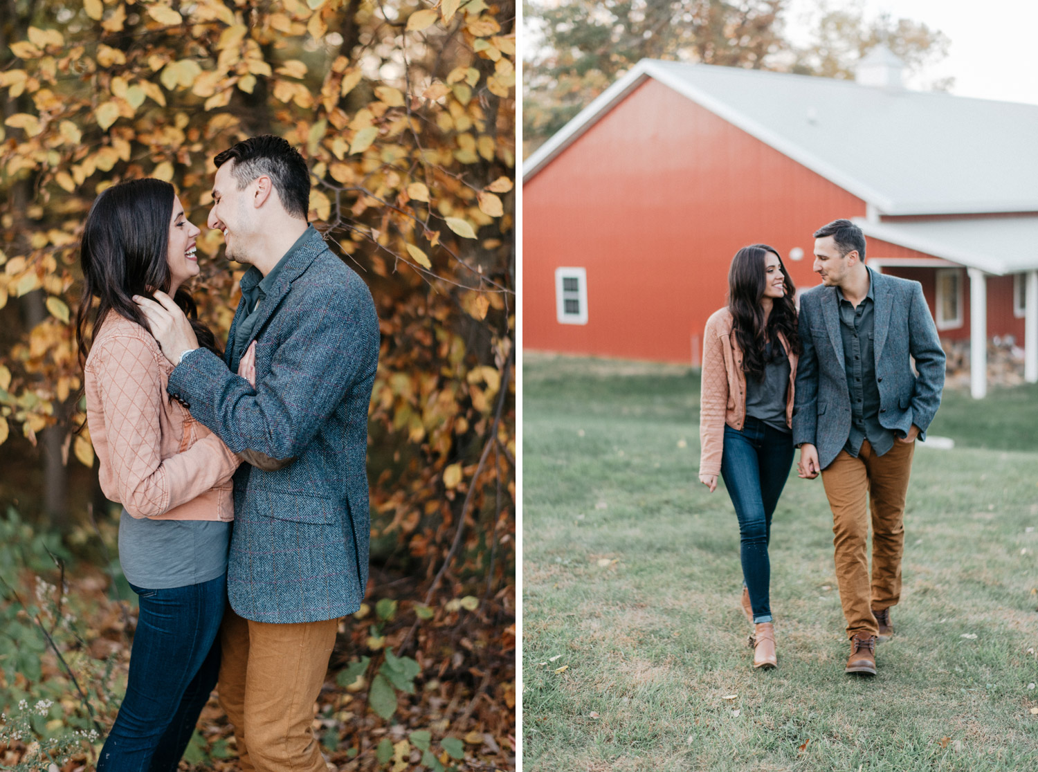 Minnesota Fall engagement session at a barn by geneoh