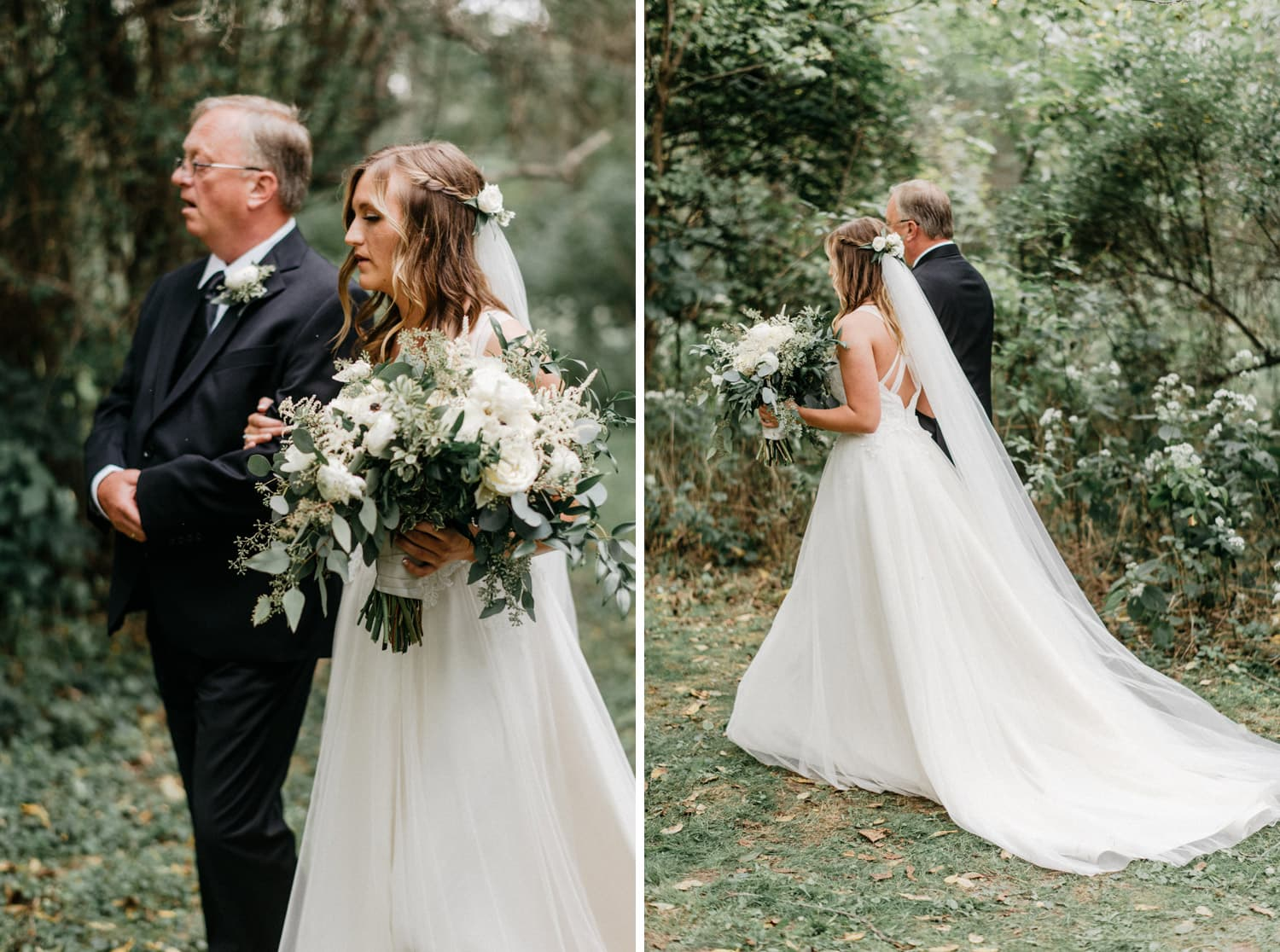 bride and father before outdoor ceremony