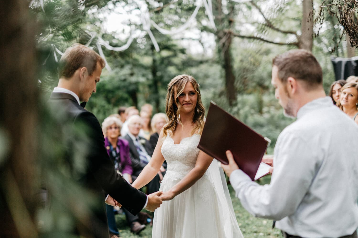 outdoor ceremony at brides home