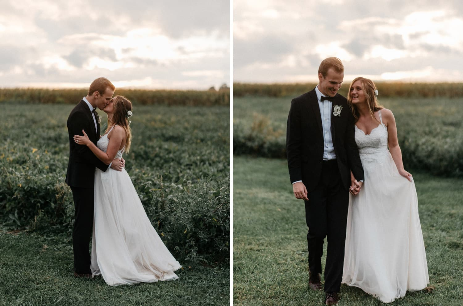 bride and groom kiss during sunset portraits