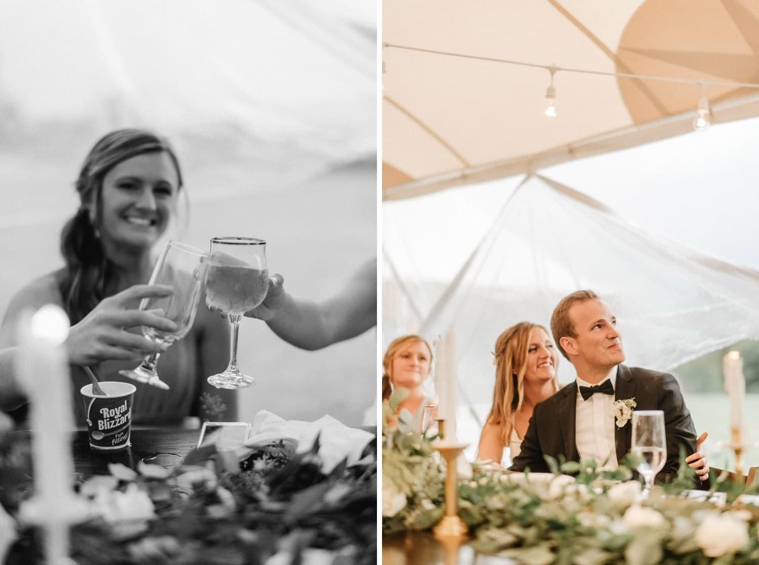 bride and groom cheers during wedding reception